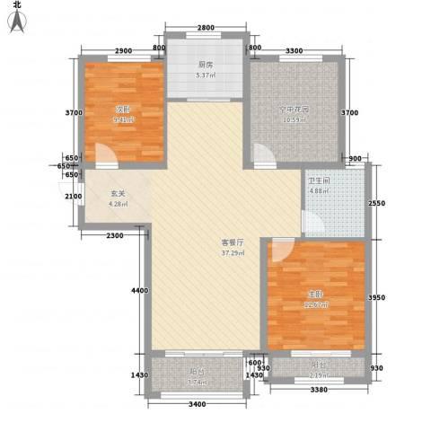 世纪御庭2室1厅1卫1厨122.00㎡户型图