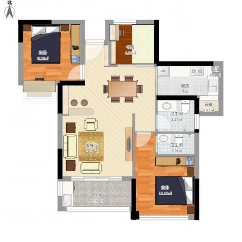绿苑新城3室1厅2卫1厨98.00㎡户型图