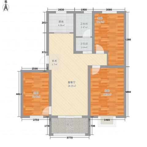 美麟・花样年华3室1厅2卫1厨117.00㎡户型图