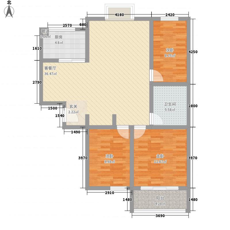 高速仁和盛庭118.64㎡二期高层7、8、10#E户型3室2厅1卫1厨