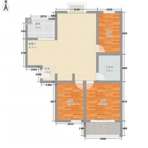 高速仁和盛庭3室1厅1卫1厨119.00㎡户型图