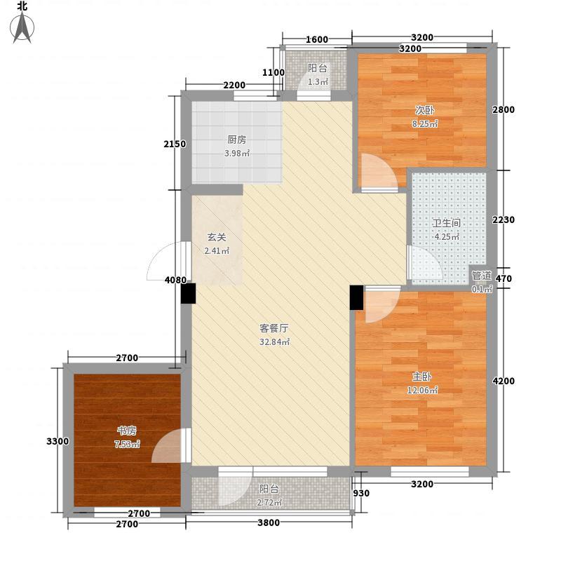 第8区3室1厅1卫0厨69.04㎡户型图