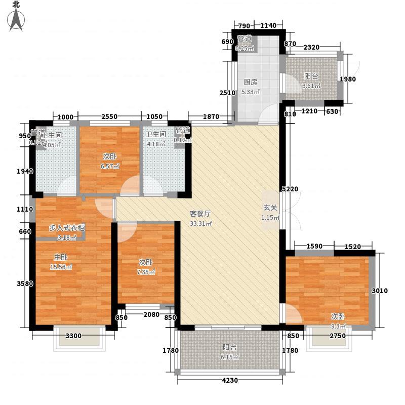 赣州・恒大名都4室1厅2卫1厨138.00㎡户型图