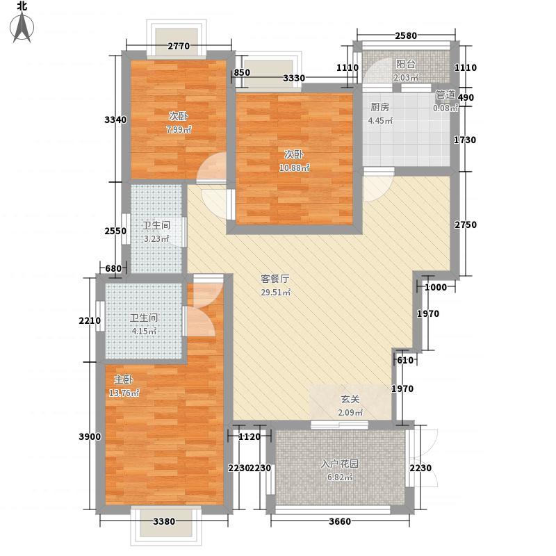 华凌尚城121.02㎡B户型3室2厅2卫1厨