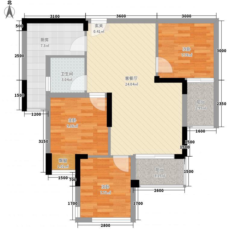 奥园盘龙壹号一期2号楼标准层D3户型