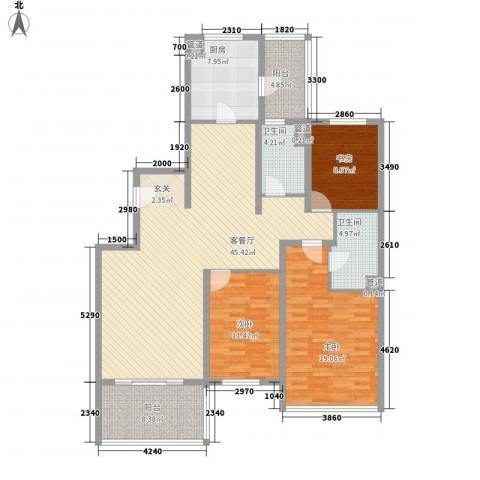 凌海名庭3室1厅2卫1厨164.00㎡户型图