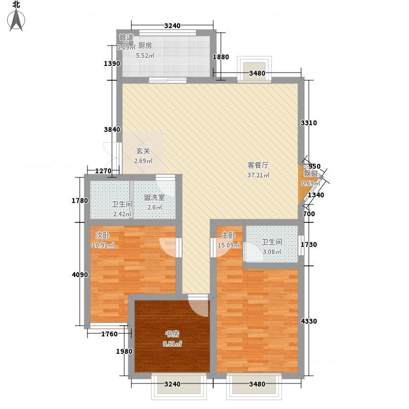新华阳光花园121.58㎡C户型3室2厅2卫1厨