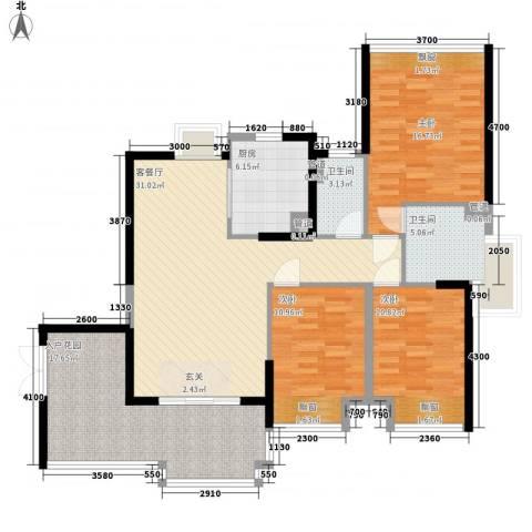 星光礼寓3室1厅2卫1厨121.00㎡户型图