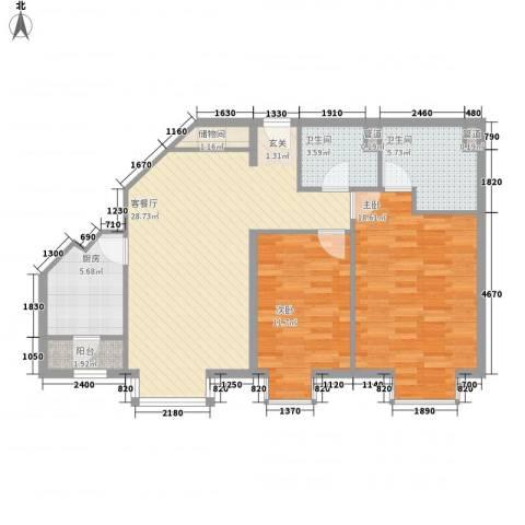 上元君庭2室1厅2卫1厨106.00㎡户型图