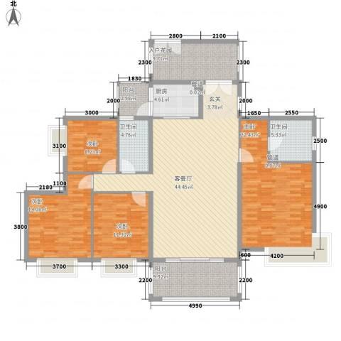 佛奥阳光花园4室1厅2卫1厨137.31㎡户型图
