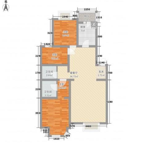 芳源里小区三期3室1厅2卫1厨114.00㎡户型图