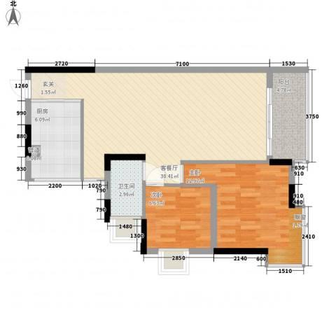 润碧康城二期2室1厅1卫1厨89.00㎡户型图
