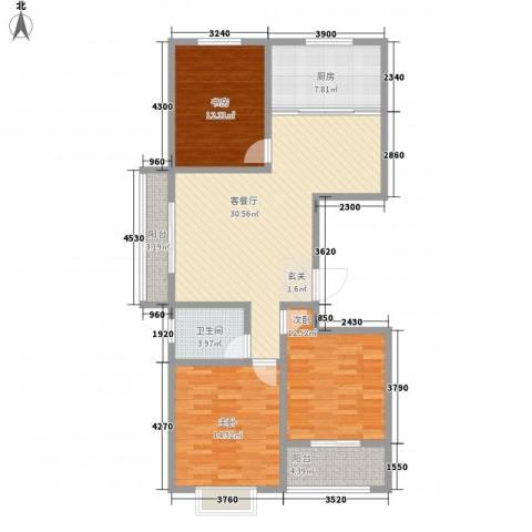 荔水湾3室1厅1卫1厨127.00㎡户型图