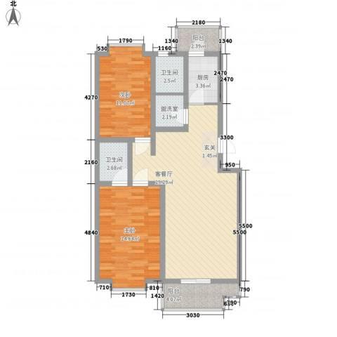 古桥镜水2室1厅2卫1厨102.00㎡户型图