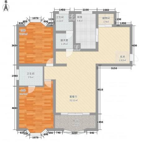 虹康花苑二期2室1厅2卫1厨113.00㎡户型图