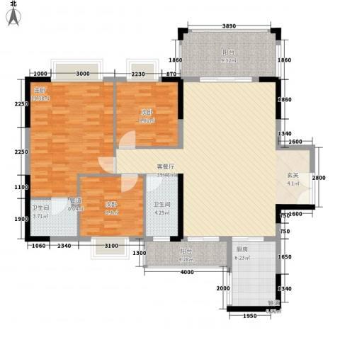 佛奥阳光花园3室1厅2卫1厨134.00㎡户型图