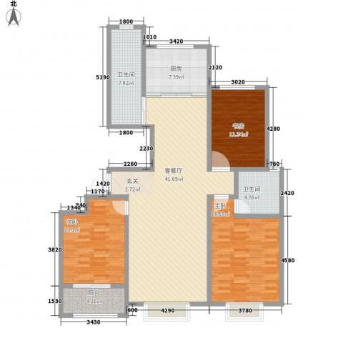 荔水湾3室1厅2卫1厨151.00㎡户型图