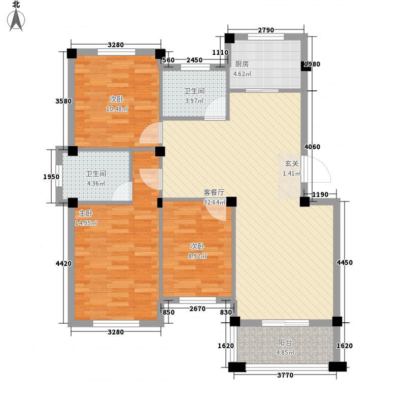 丽景花园3室1厅2卫1厨119.00㎡户型图