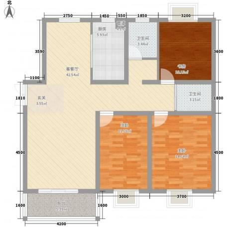 港利・锦绣江南3室1厅2卫1厨138.00㎡户型图