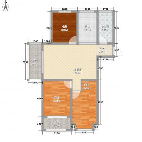荔水湾3室1厅1卫1厨113.00㎡户型图