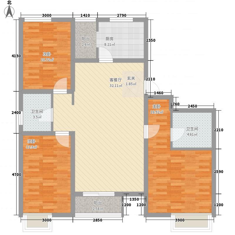�园3室1厅2卫1厨130.00㎡户型图