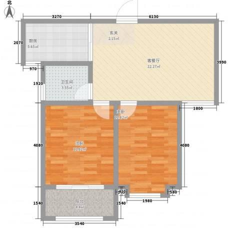 荔水湾2室1厅1卫1厨86.00㎡户型图