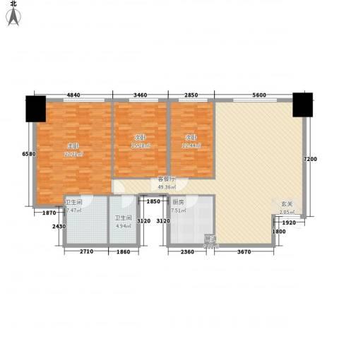 花明大厦3室1厅2卫1厨172.00㎡户型图