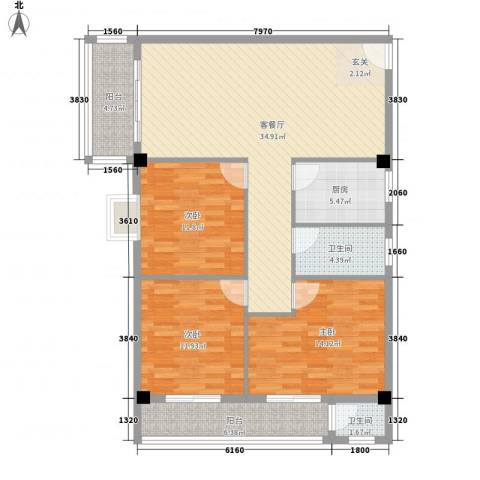 连平花园3室1厅2卫1厨95.41㎡户型图