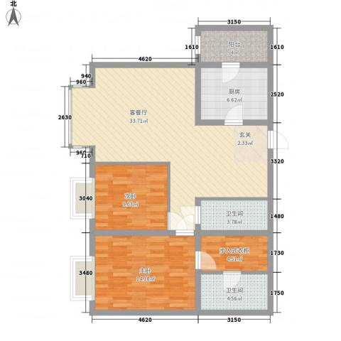 上元君庭2室1厅2卫1厨112.00㎡户型图