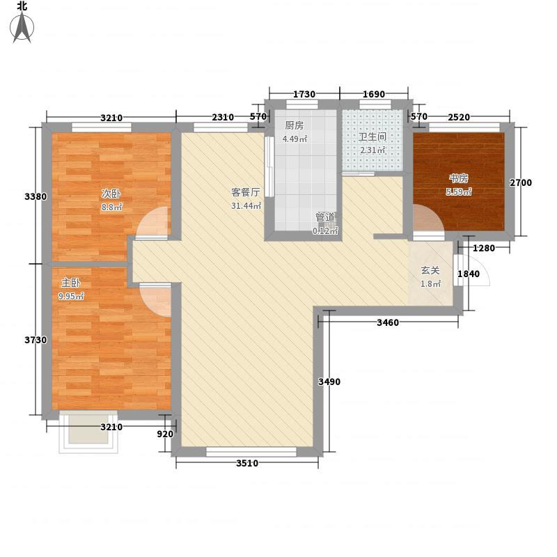 保利金融街诺丁山3室1厅1卫1厨90.00㎡户型图