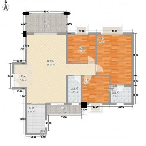 佛奥阳光花园3室1厅2卫1厨103.19㎡户型图
