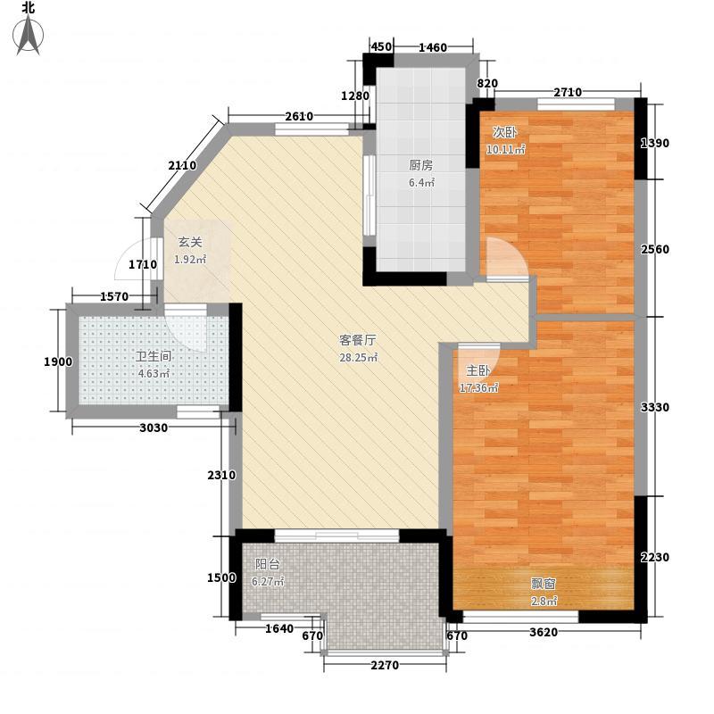 大华锦绣华城88.00㎡三期花园洋房P4户型2室2厅1卫1厨