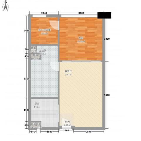 保利世贸公寓1室1厅1卫1厨74.00㎡户型图