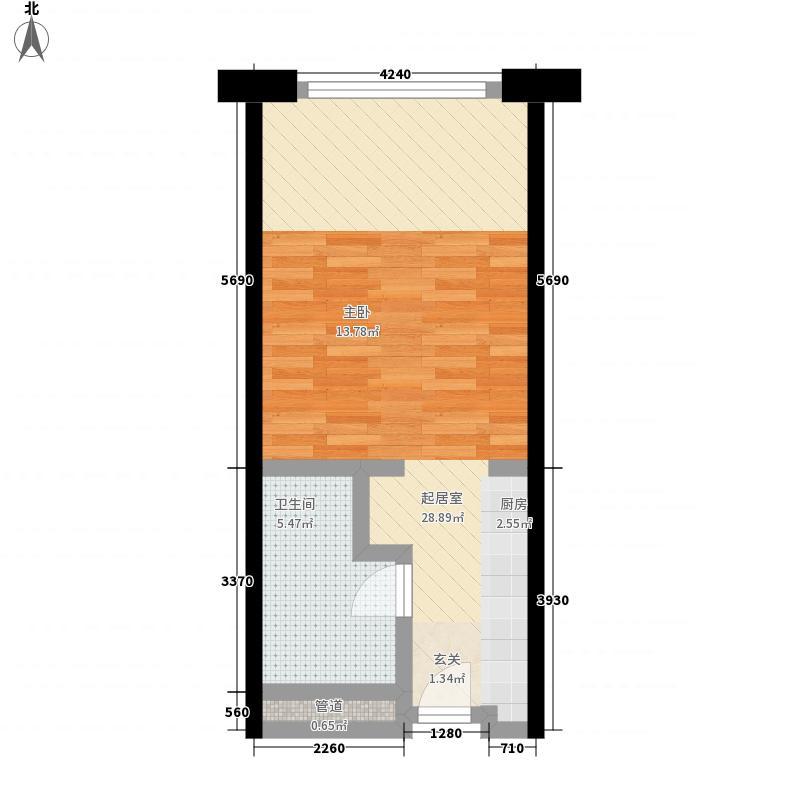 保利世贸公寓51.00㎡保利世贸公寓户型图一期D栋4―44层B户型1室1卫户型1室1卫
