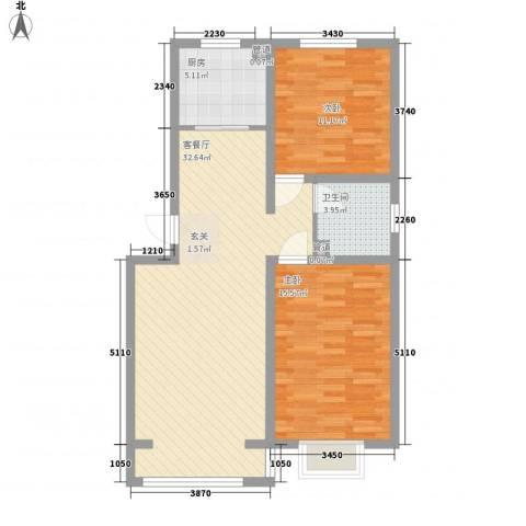 青熙境2室1厅1卫1厨99.00㎡户型图