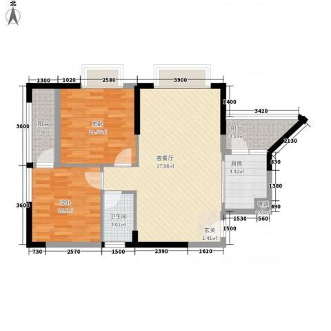 新莲岳里2室1厅1卫1厨92.00㎡户型图