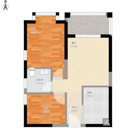 凤凰水城凤凰湾2室1厅1卫1厨72.00㎡户型图