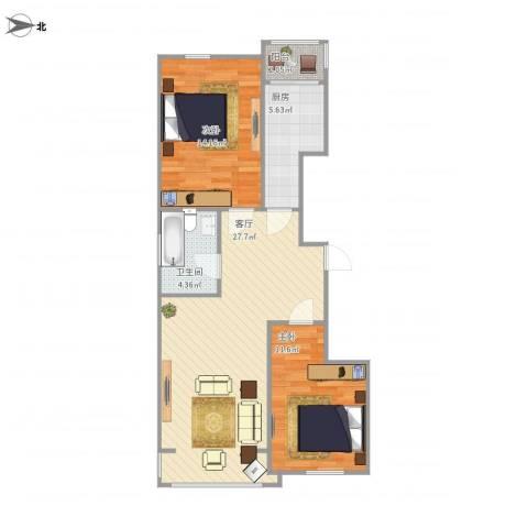 新浦家园2室1厅1卫1厨88.00㎡户型图