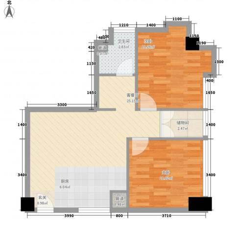 加州花园别墅2室1厅1卫0厨75.00㎡户型图