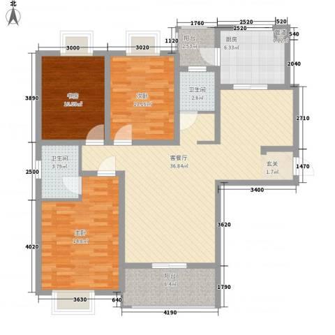宋都西湖花苑3室1厅2卫1厨110.00㎡户型图