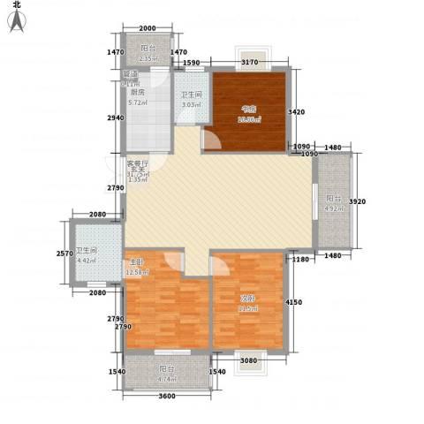 宋都西湖花苑3室1厅2卫1厨130.00㎡户型图