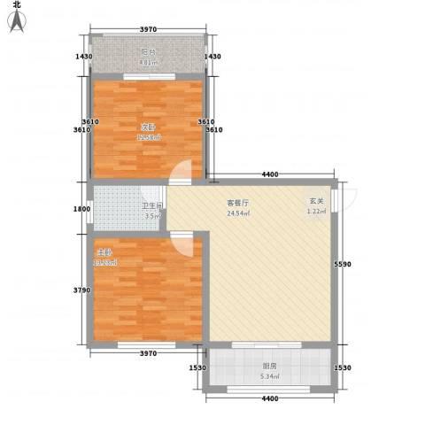 锦绣蓝湾2室1厅1卫1厨64.00㎡户型图
