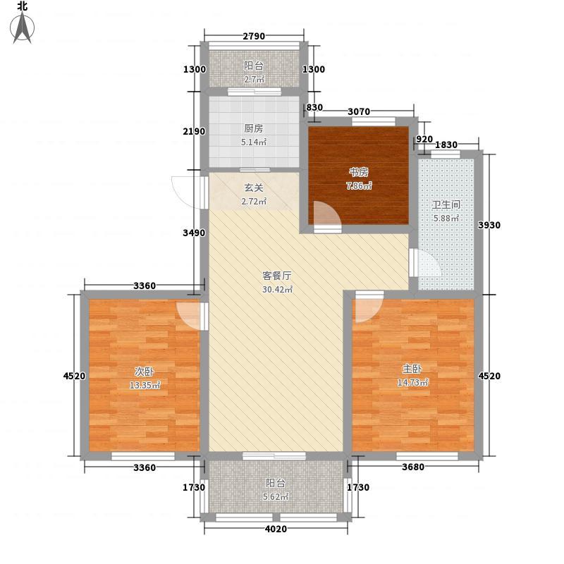 盈佳・香荷湾123.00㎡小高层4#楼标准层D户型3室2厅1卫1厨
