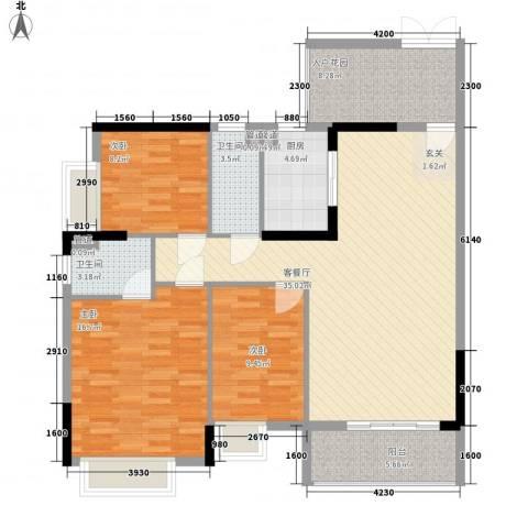 富盈加州阳光3室1厅2卫1厨133.00㎡户型图
