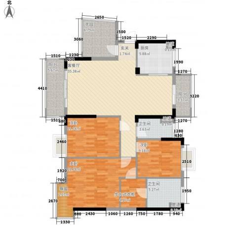 富盈加州阳光3室1厅2卫1厨155.00㎡户型图