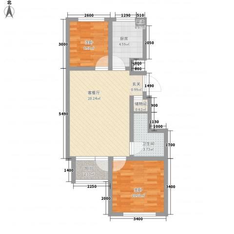 戴河水岸星城2室1厅1卫1厨77.00㎡户型图