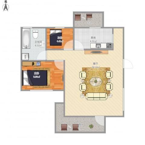 锦绣江南二期2室1厅1卫1厨95.00㎡户型图