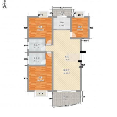 十里江南3室1厅2卫1厨124.00㎡户型图