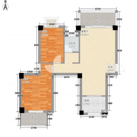 广隆海尚首府2室1厅1卫1厨88.00㎡户型图
