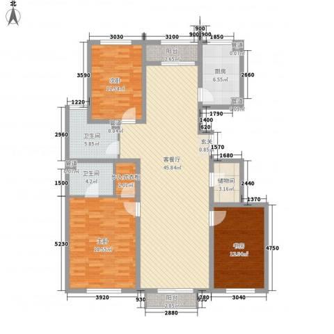 金隅凤麟洲3室1厅2卫1厨160.00㎡户型图